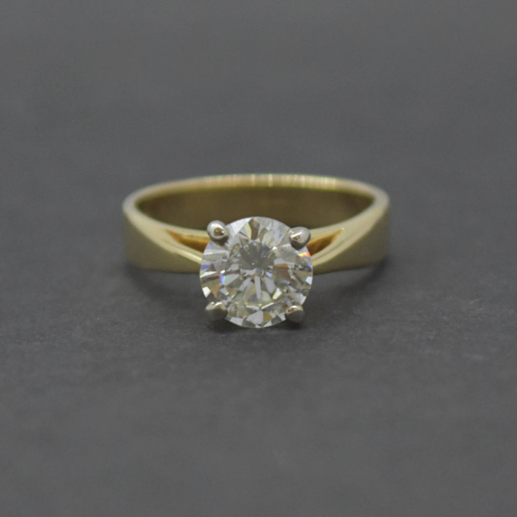 Diamond Solitaire Engagement Ring in Yellow Gold