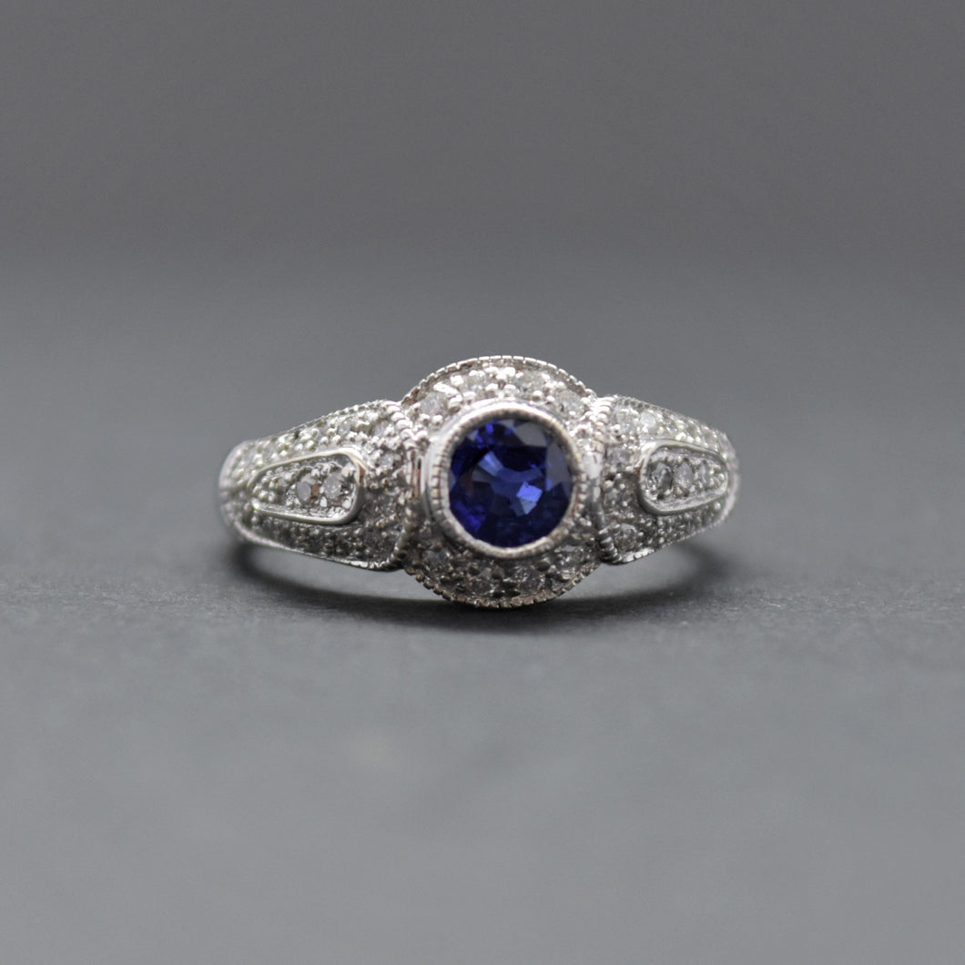Vintage Inspired Blue Sapphire Diamond Ring