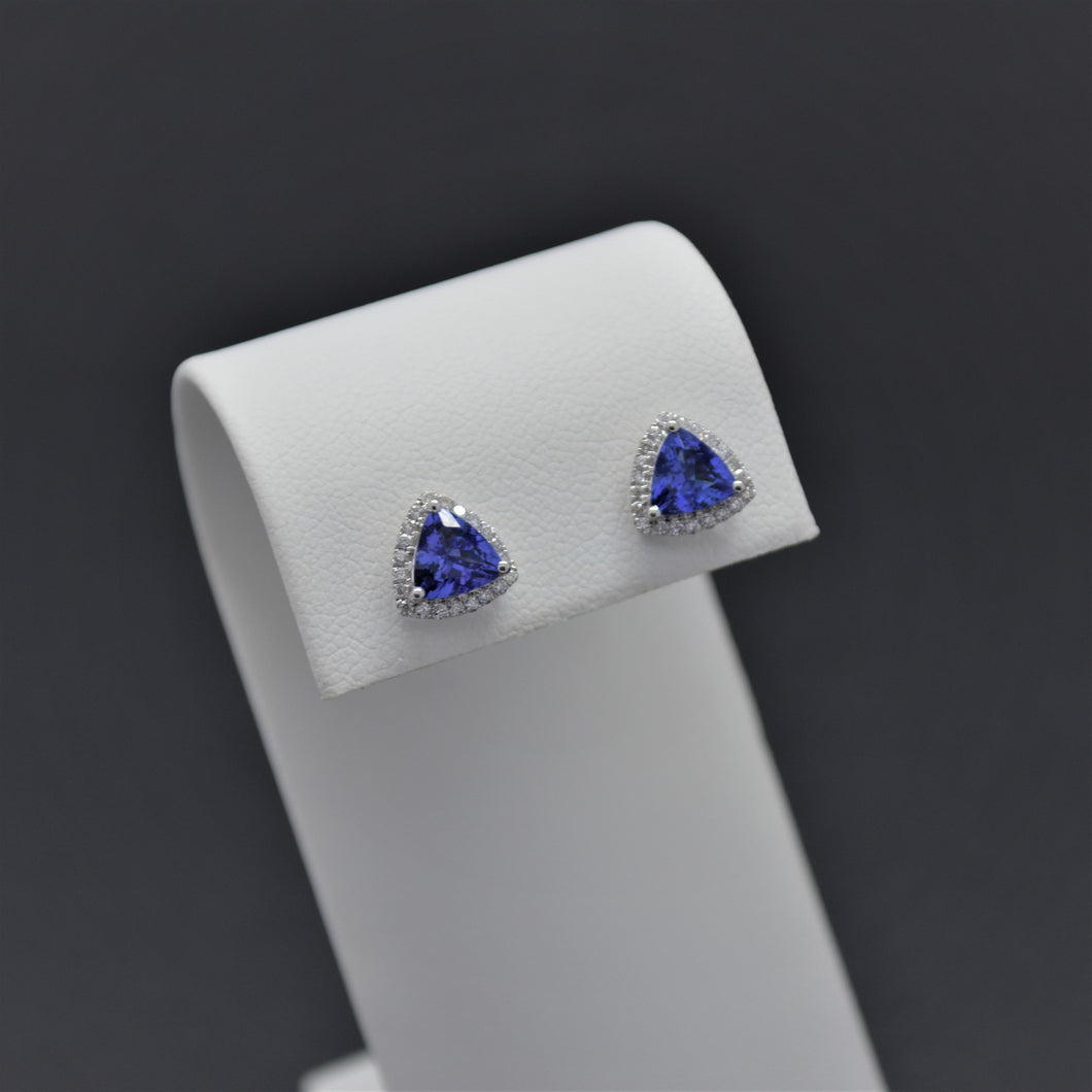 Trillion Cut Tanzanite Diamond Stud Earrings
