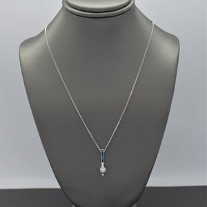 Lab Diamond Bar Pendant Necklace