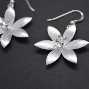 Blossom Flower Silver Earrings
