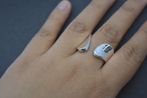Brushed Silver Wrap Ring