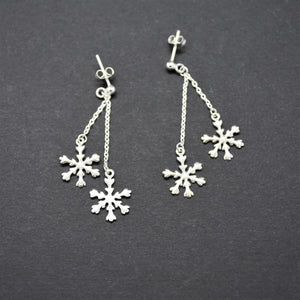 Snowflake Silver Drop Earrings