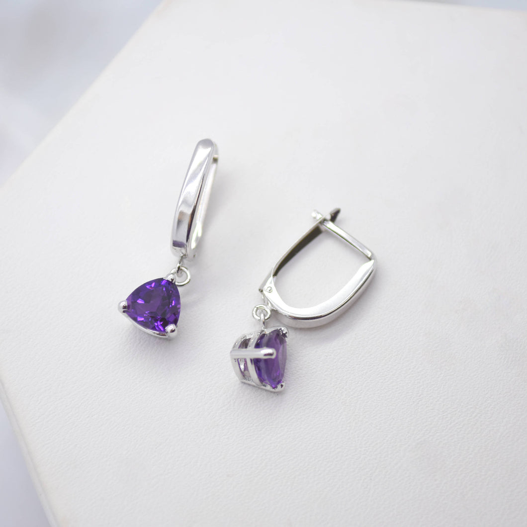 purple amethyst white gold earrings