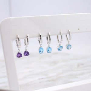 Round Blue Topaz Earrings