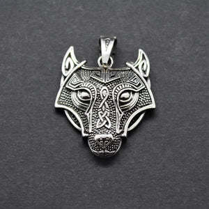 Celtic Wolf Pendant Necklace
