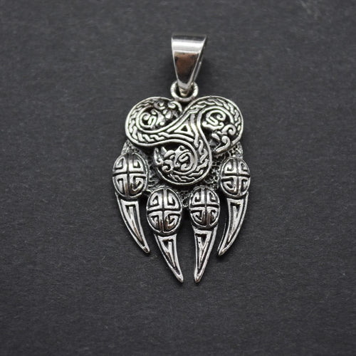 SILVER BEAR CLAW PENDANT NECKLACE