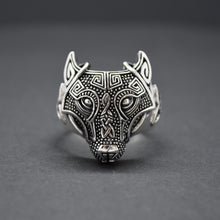 celtic wolf silver ring