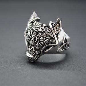 wolf silver ring celtic inspired
