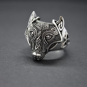wolf silver ring for mens