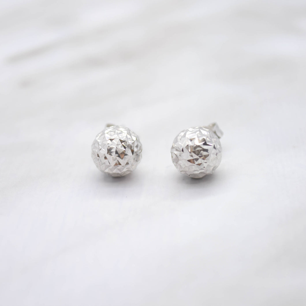 Diamond Cut White Gold Stud Earrings