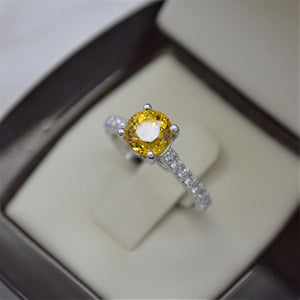 2.29 CT Yellow Sapphire Diamond Ring