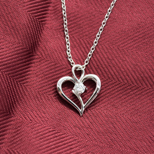 heart necklace with lab diamond