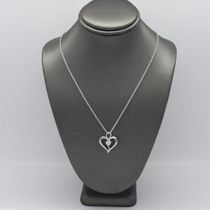 Silver Heart Necklace with .25CT Lab Diamond