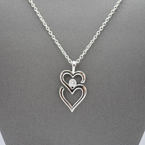 Silver Double Heart Necklace with .10CT Lab Diamond