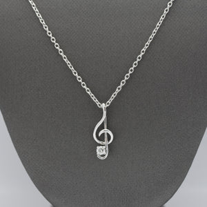 Treble Clef Necklace with .10CT Lab Diamond