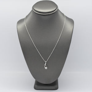 Freeform Silver Necklace with .10CT Lab Diamond