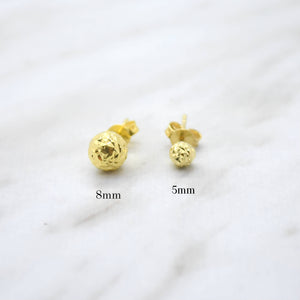 Yellow Diamond Cut Stud Earrings