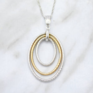Two Tone Open Link Pendant Necklace