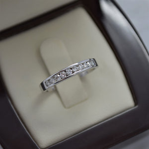 classic channel set wedding band white gold