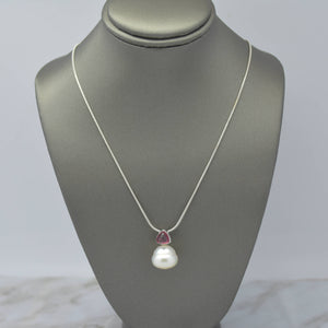 South Sea Pearl Rhodolite Necklace