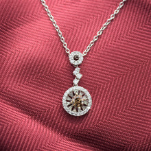 Cinnamon Diamond Halo Necklace