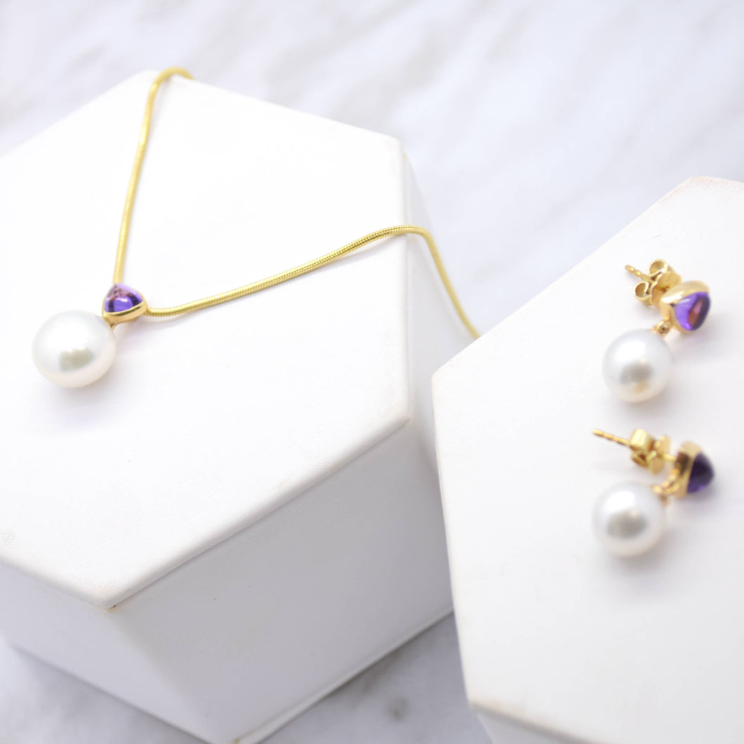 Pearl and Amethyst Necklace Earrings Set