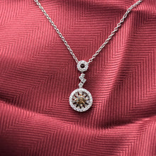 Cognac Diamond Halo Necklace