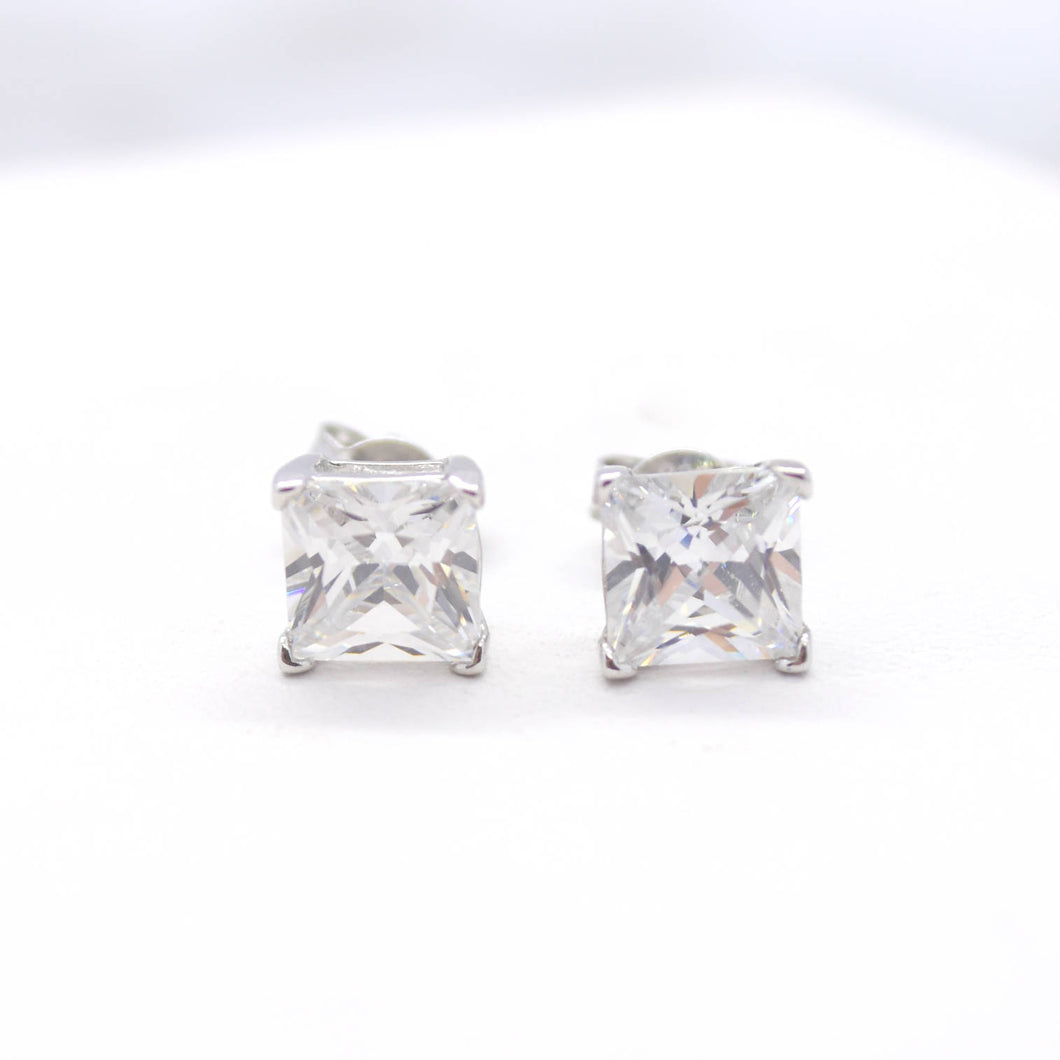 Princess Cut CZ Stud Earrings