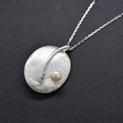 Oval Brushed Pendant Necklace with Freshwater Pearl