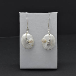 Oval Brushed Drop Earrings with Freshwater Pearl