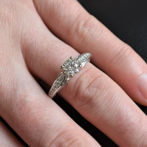 White Gold Engagement Ring with Ski Tip Melee