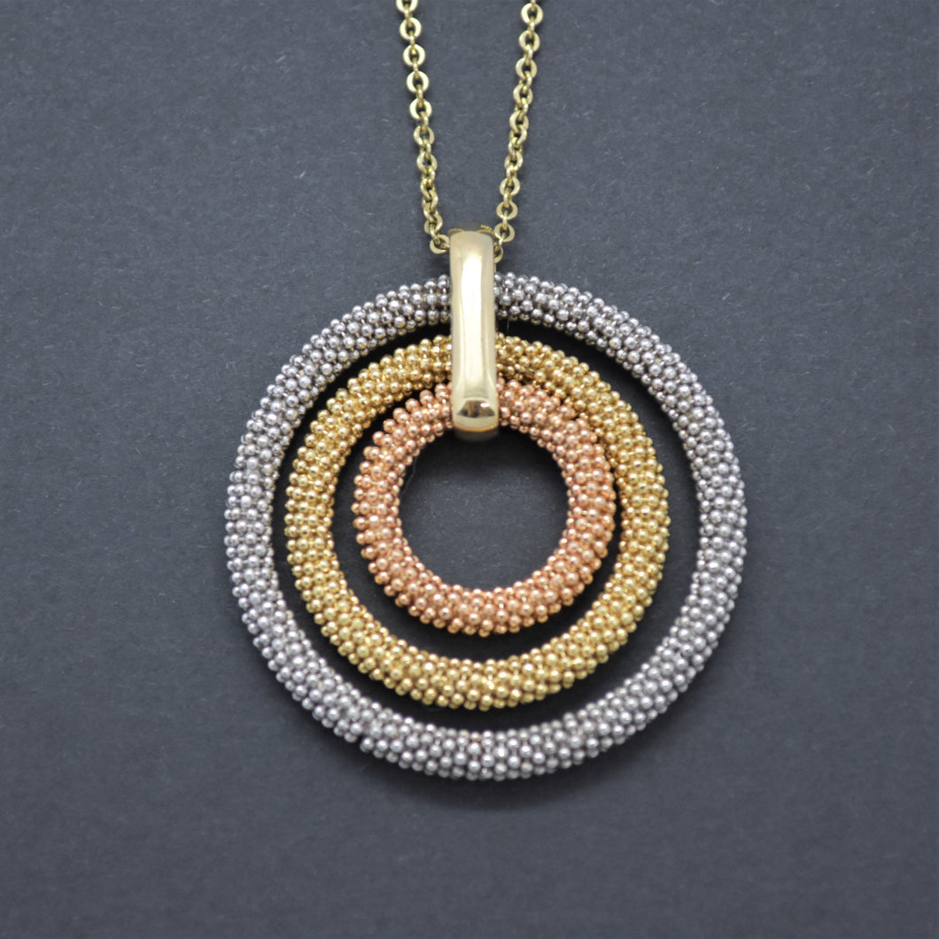 Tri-Tone Circle Pendant Necklace