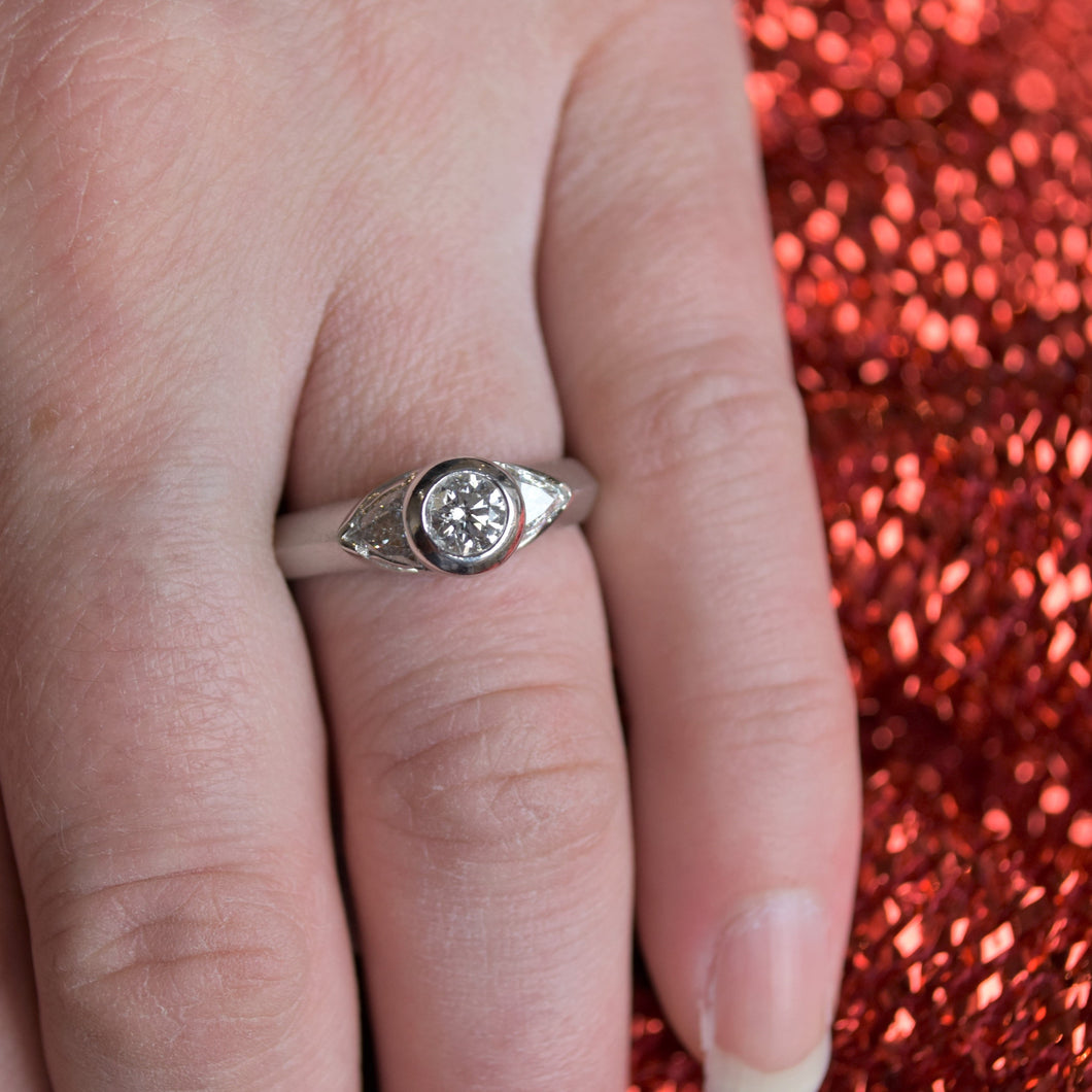 Trilliant engagement ring wedding set