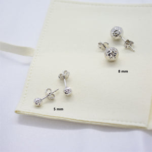 5mm Diamond Cut White Gold Stud Earrings