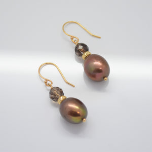 Iridescent Chocolate Dangling Freshwater Pearl Earrings