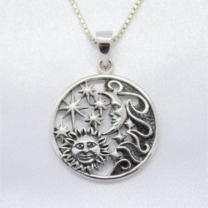 moon star sun necklace