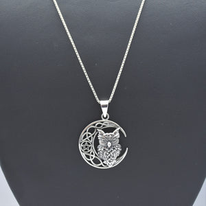 Owl On Moon Necklace