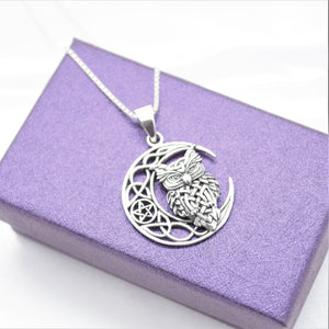 wise owl necklace in silver