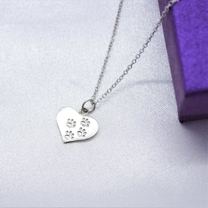 Paw Print Heart Necklace