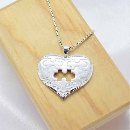 HEART SHAPED PUZZLE NECKLACE