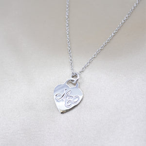 silver heart mom necklace