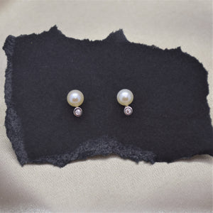 dainty pearl and cubic zirconia earrings