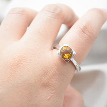 silver square bezel citrine ring