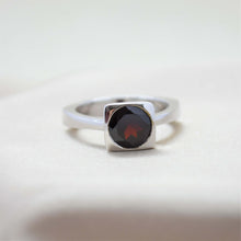 Square Bezel Garnet Ring
