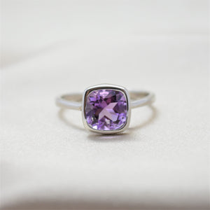 Cushion Bezel Amethyst Ring