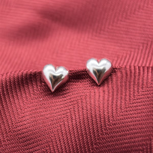 puffy heart stud silver earrings