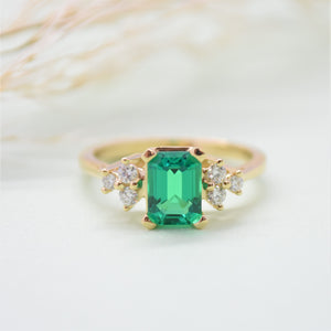 Chatham Emerald Diamond Cluster Ring