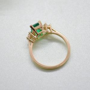 Chatham Emerald With Diamond Cluster Ring