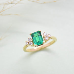 lab emerald diamond ring
